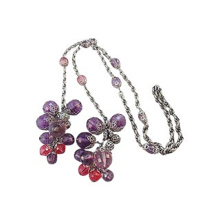 1960s Napier Beaded Lariat Necklace For Sale