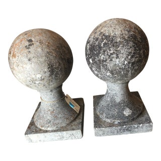 English Limestone Ball on Base Finials-A Pair For Sale
