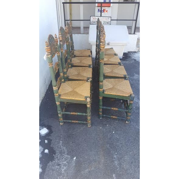 Green Painted Ladder Back Dining Chairs- Set of 8 - Image 10 of 10