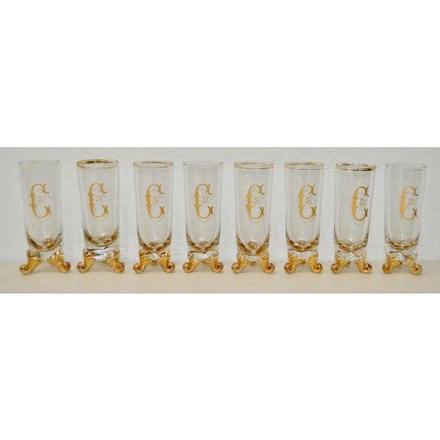 "Set of Eight Hand Blown & Gilded Venetian Glasses Fantastic set of hand painted bar glasses. Each glass measures 2.5""..."