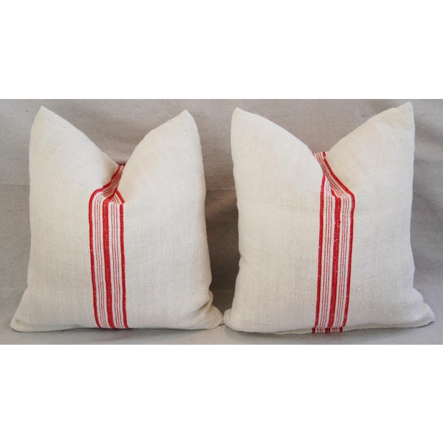 Red Stripe French Grain Sack Pillows - Pair - Image 6 of 11