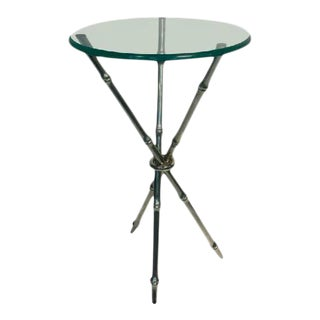 Faux Bamboo Chrome Side Table