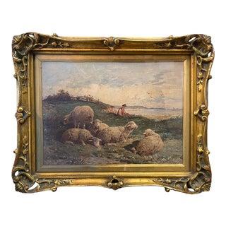 19th Century Watercolor Rustic European Landscape Painting by Felix Saturnin Brissot De Warville, Framed For Sale