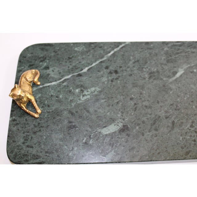 Vintage Green Marble Tray With Gold Leopard Serving Knives, 1970's For Sale - Image 10 of 12