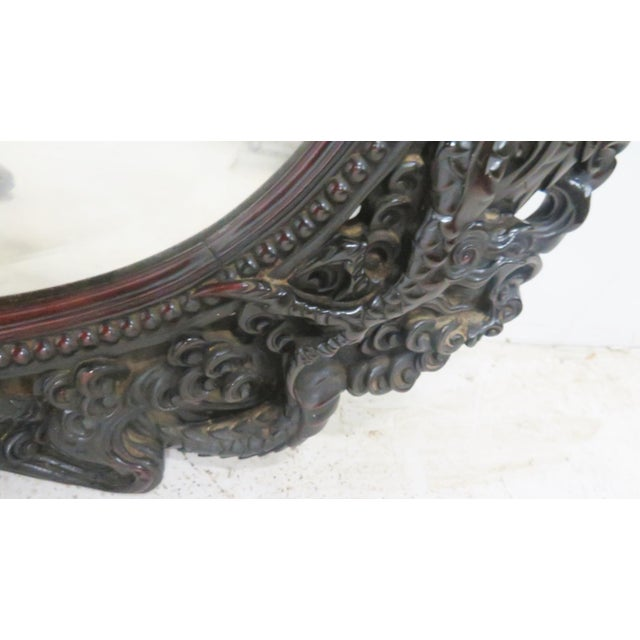 Ebonized Chinese Dragon Carved Oval Mirror - Image 4 of 8