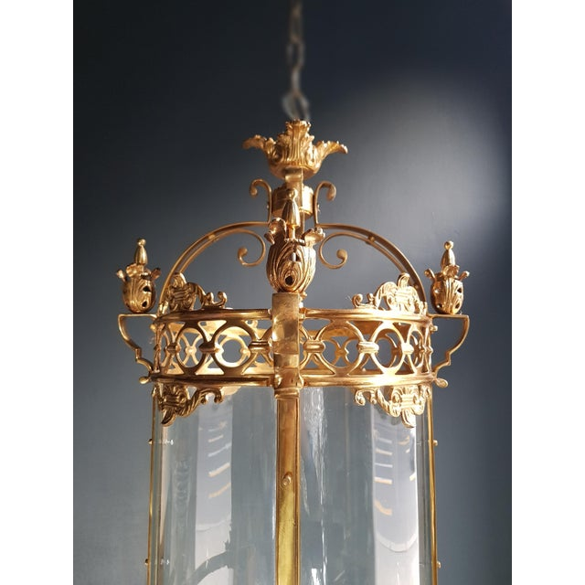 6 Aviable Large Cylindrical Lantern in Louis XVI Style Brass Glass Pendant Lighting For Sale - Image 9 of 10