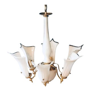 1950s Vintage Calla Lily Murano Italy 6-Light Chandelier For Sale