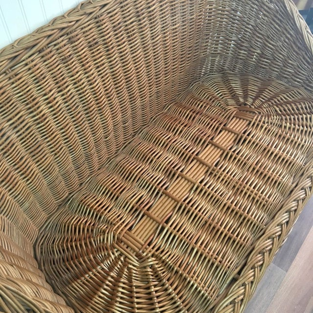 Boho Chic 1970s Wicker Tub Settee Natural Rattan Love Seat For Sale - Image 3 of 9