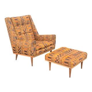 1950s Vintage Milo Baughman James Inc Lounge Chair & Ottoman Set For Sale