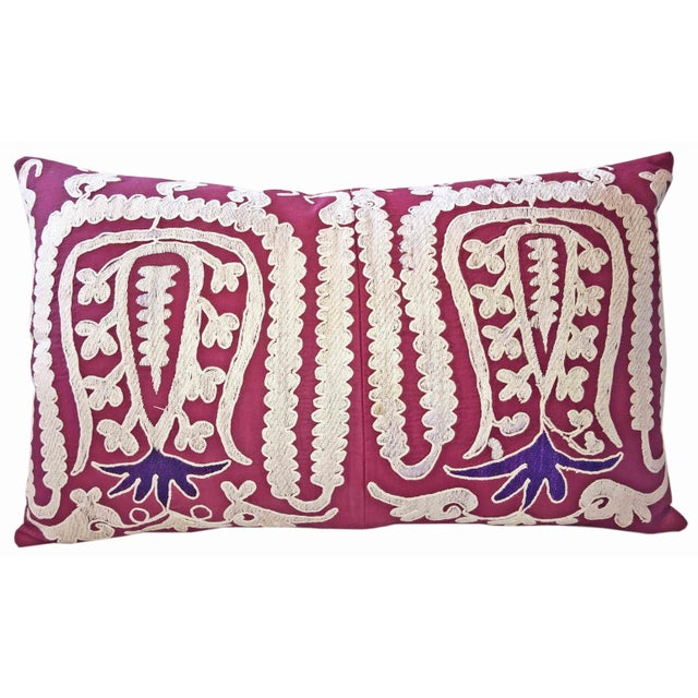 87 Year Old Vintage Hand Embroidered Samarkand Pillow For Sale - Image 5 of 5