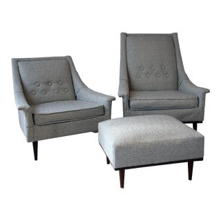 Mid Century Modern Selig Armchairs and Matching Ottoman- 3 Pieces For Sale