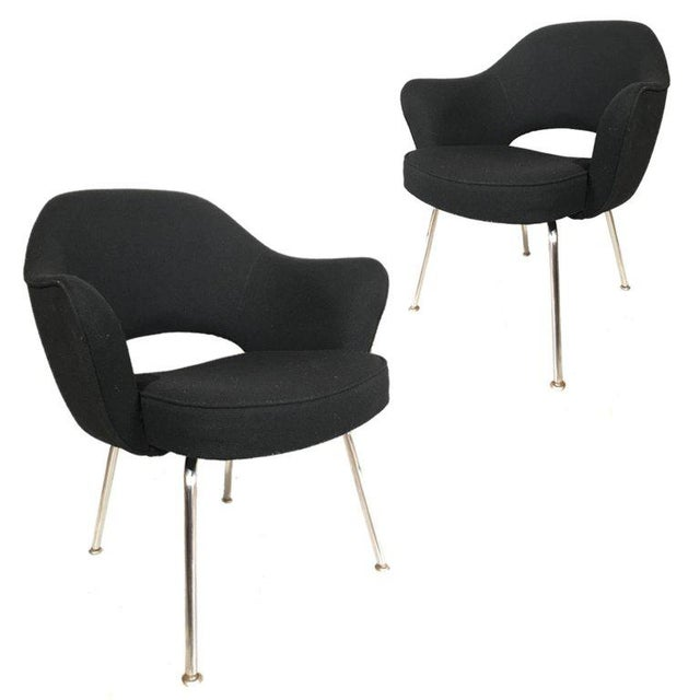 Mid-Century Modern Knoll Eero Saarinen Executive Armchairs in Knoll Black Upholstery For Sale - Image 3 of 6