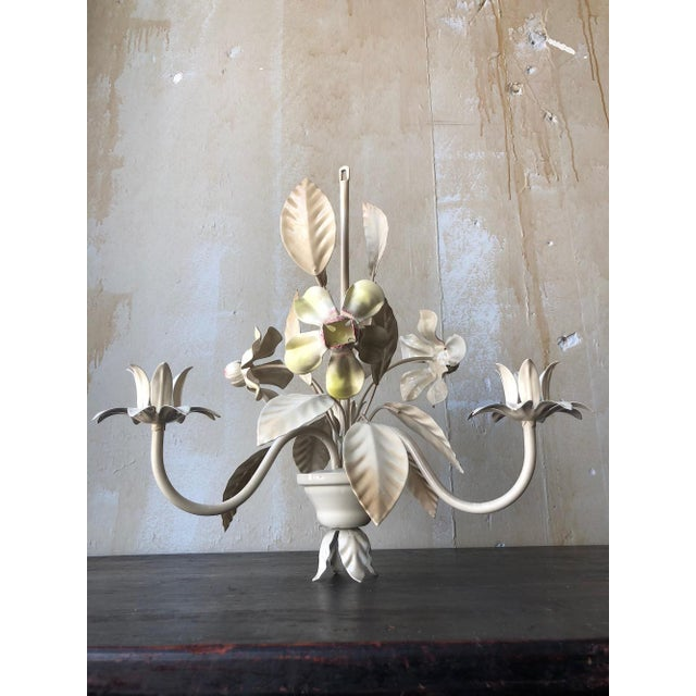 Vintage Italian Tole Chandelier - Yellow and Pink Flowers For Sale - Image 9 of 10