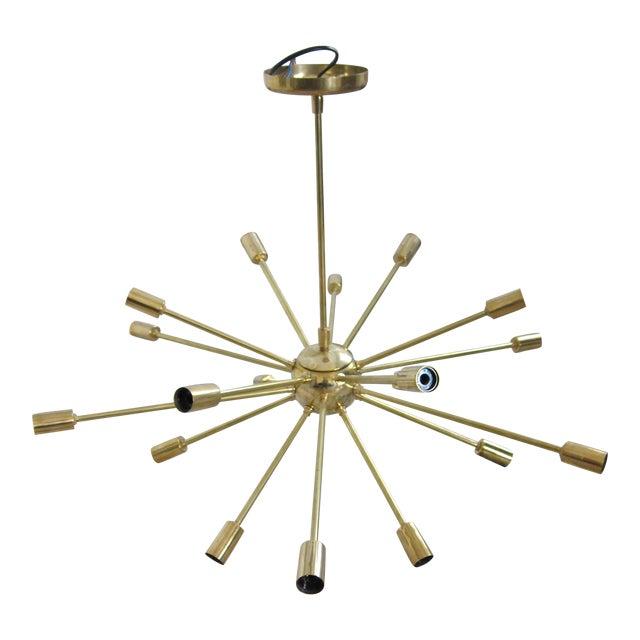 Mid Century Modern 18 Arm Polished Brass Sputnik Chandelier