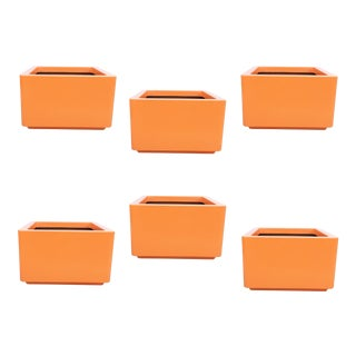 Six Vintage Contemporary Orange Indoor/Outdoor Fiberglass Planters For Sale