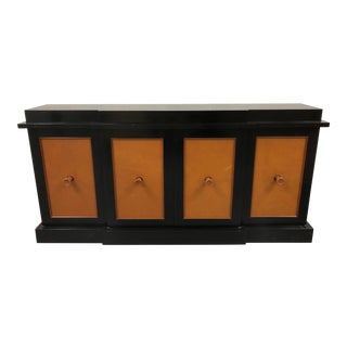 20th Century Parzinger Style Leather Front Server For Sale