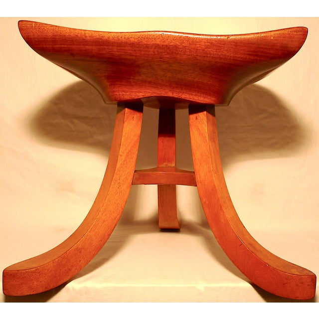 Title: Ash Tripod Sculpted Saddle Stool After Alfred Loos. Style: Attributed to Alfred Loos. Place: United Kingdom. Date...