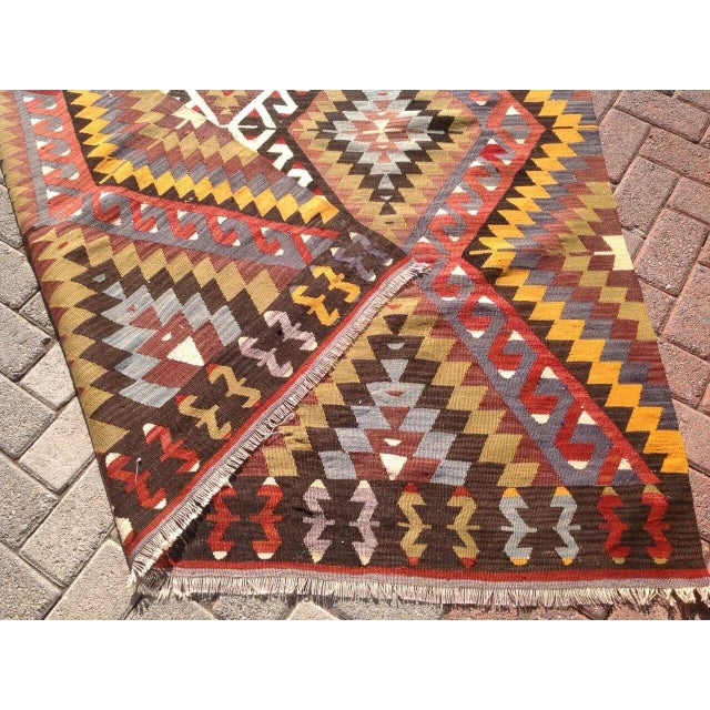 Vintage Turkish Kilim Rug - 5′5″ × 8′5″ For Sale - Image 7 of 7