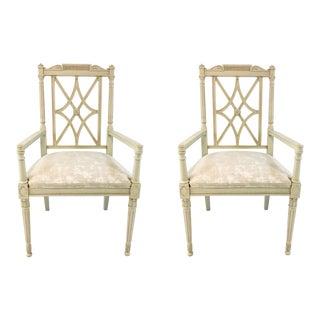 Hickory Chair Cream Cut Velvet London Arm Chairs Pair For Sale