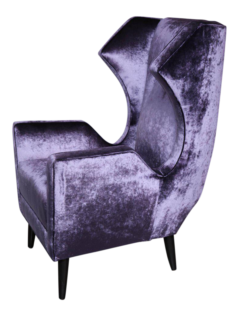 Romo A Methyst Velvet Custom Wing Chairs For Sale