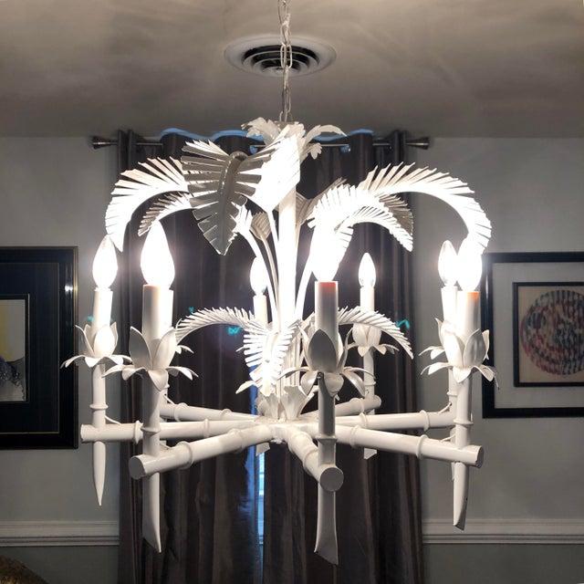 Vintage Tole Palm Chandelier For Sale - Image 10 of 12