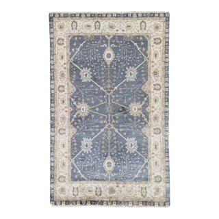 Jaipur Living Princeton Hand-Knotted Floral Dark Blue & Beige Area Rug - 2′ × 3′ For Sale