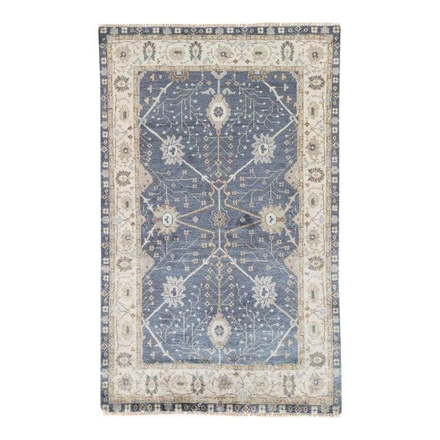 Jaipur Living Princeton Hand-Knotted Floral Dark Blue & Beige Area Rug - 2′ × 3′ For Sale