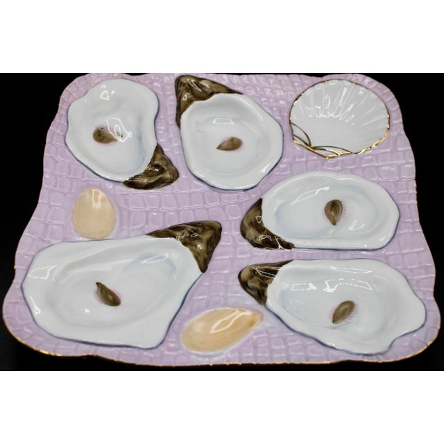 1960s 1960s Lavender Blush Oyster Plate For Sale - Image 5 of 9