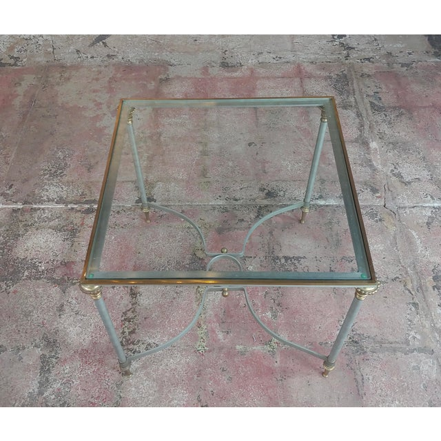 Vintage Brass French Side Tables W/Square Glass Top- a Pair For Sale - Image 4 of 10
