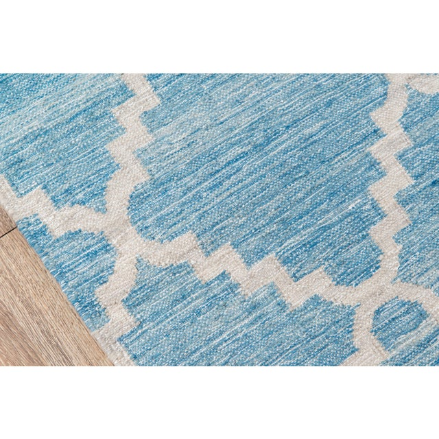 "Contemporary Momeni Caravan Hand Woven Blue Wool Area Rug - 5' X 7'6"" For Sale - Image 3 of 6"