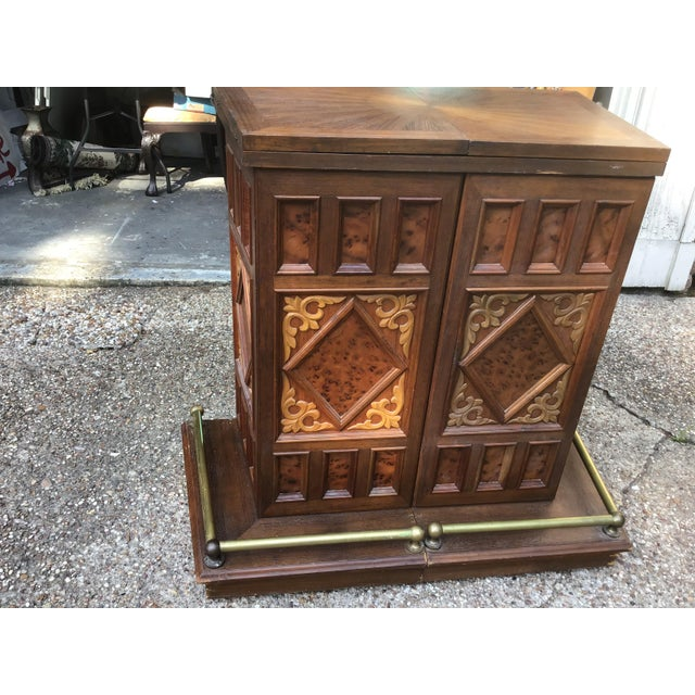 Brown Vintage Carved Chinese Oriental Style Folding Expandable Bar Cabinet For Sale - Image 8 of 12