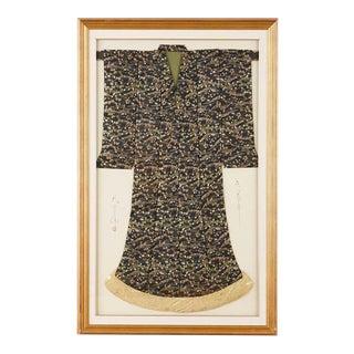 Framed Japanese Silk Brocade Ceremonial Kimono For Sale