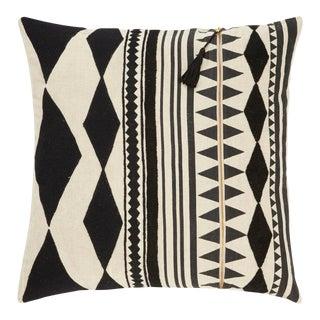 Nikki Chu by Jaipur Living Lonyn Beige/ Black Geometric Down Throw Pillow 22 Inch For Sale