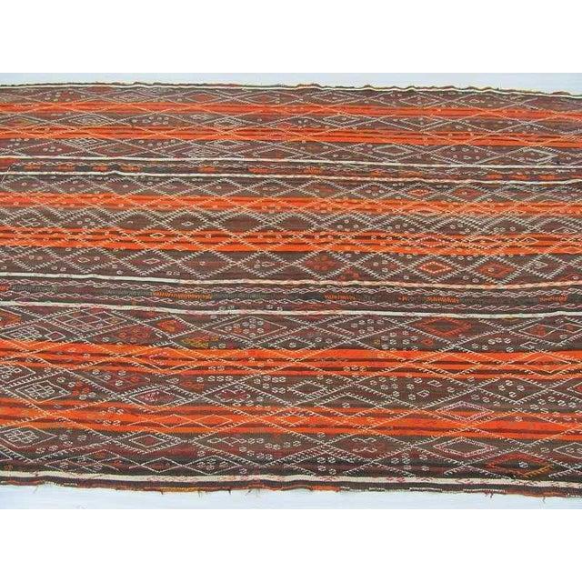 Vintage Orange Striped Turkish Kilim Rug - 6′7″ × 11′6″ For Sale - Image 4 of 6