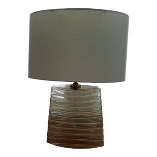 Vintage Robert Abbey Wells Seeded Glass Stripe Brass Table Lamp For Sale