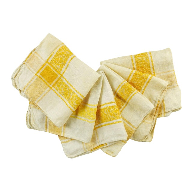 Cotton Damask Yellow Plaid Napkins - Set of 6 For Sale
