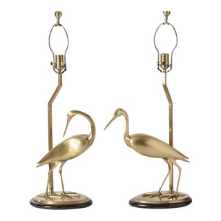 Vintage Brushed Brass Opposing Couple of Egret Lamps, A-Pair For Sale
