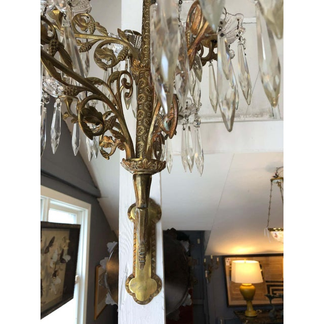 Cast Bronze and Crystal Candle Sconces -A Pair For Sale - Image 9 of 10