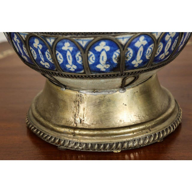 Antique Moroccan Ceramic Vase From Fez For Sale - Image 4 of 9