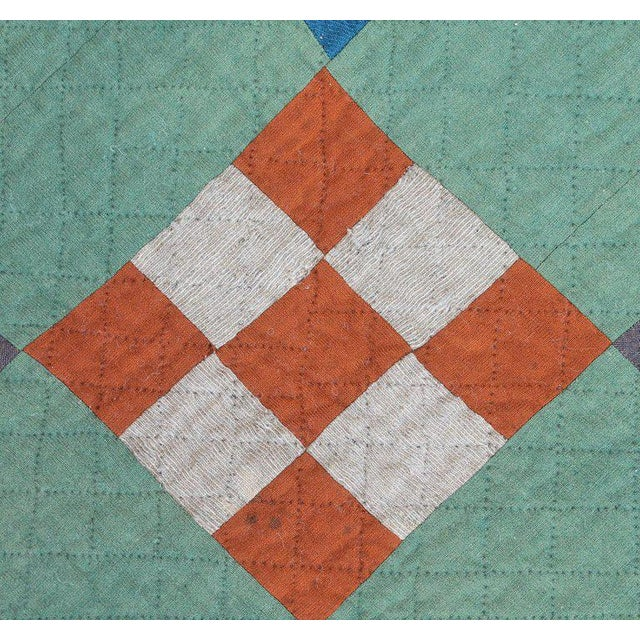 Antique Amish Nine Patch Wool Quilt For Sale In Los Angeles - Image 6 of 9