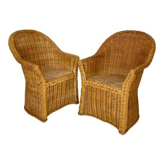 Vintage Woven Wicker Chairs With Braided Trim - a Pair For Sale