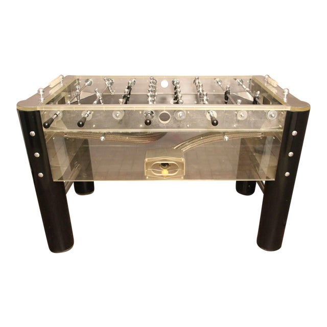1970s Lucite and Mirror Polished Aluminum Foosball Table For Sale