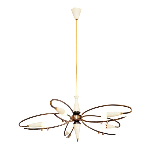 Mid Century Modern Italian Sputnik Chandelier by Stilnovo 1950s For Sale