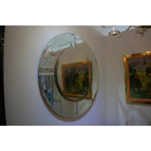 Round Mirror With Beveled Edges, Art Deco Revival For Sale In West Palm - Image 6 of 8