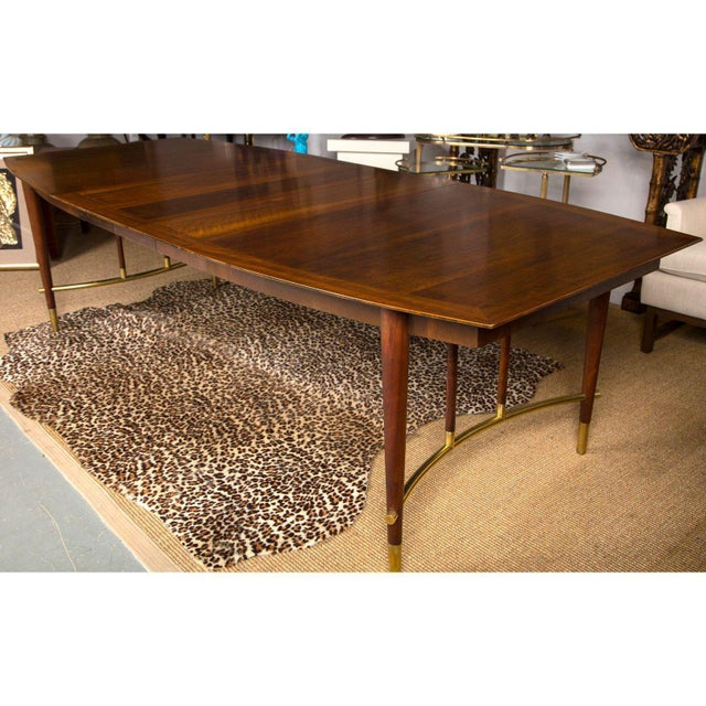Bert England for Johnson Furniture Walnut Dining Table With 3 Leaves For Sale In New York - Image 6 of 9