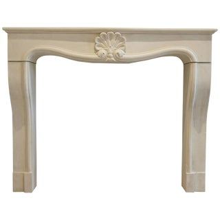 20th Century French Limestone Fireplace Mantel For Sale