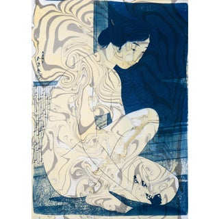 """""""Geisha in the Bath"""", Hashiguchi Goyo Inspired Japanese Cyanotype With Marbling on Watercolor Paper 2020 For Sale"""