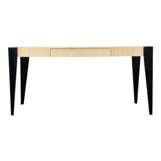 1980s Art Deco Harrison Van Horn Black and Tan Grass Cloth Writing Desk For Sale