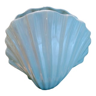 Extra Large Vintage Ceramic Pale Blue Clam Shell Regency Coastal Planter Vase For Sale