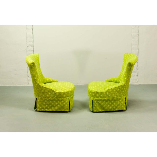 Fine pair of French Design Napoleon III Style Lime Green Boudoir / Slipper Chairs, 1900s For Sale - Image 4 of 12